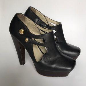 "Cut out, platform, 5"" heel booties Velvet Angels"